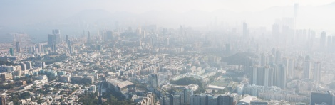 Polluted Hong Kong cityscape seen from Beacon Hill, Kowloon